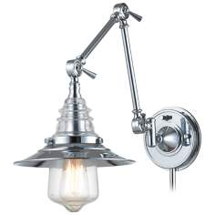 Theodore Polished Chrome and Glass Swingarm Wall Lamp
