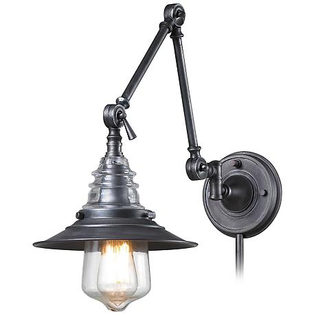 Theodore Weathered Zinc and Glass Swingarm Wall Lamp