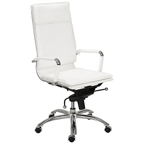 Merritt White Leatherette and Chrome Office Chair