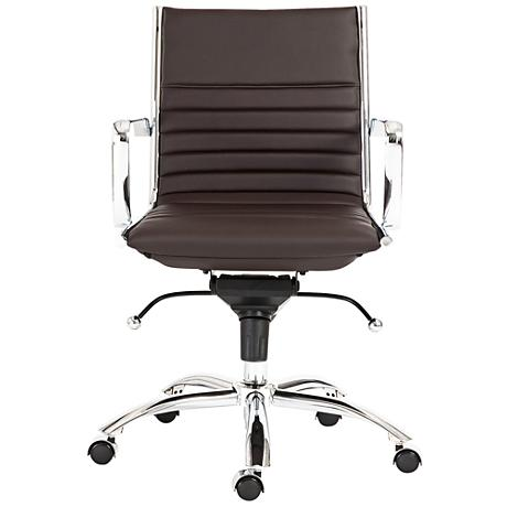Lugano Low-Back Chrome and Brown Office Chair