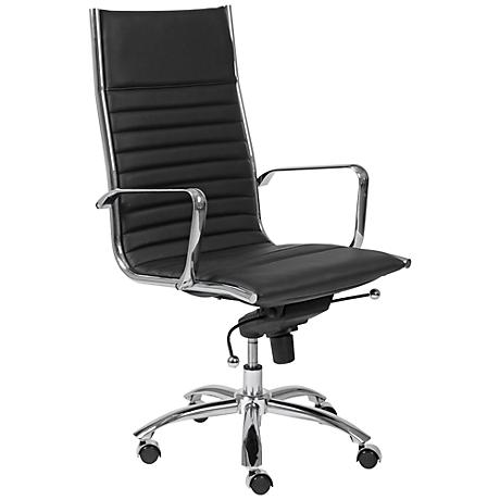 Dirk High-Back Chrome and Black Office Chair