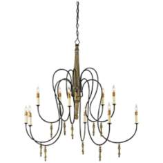 "Rouleau Wrought Iron 39"" Wide Chandelier"