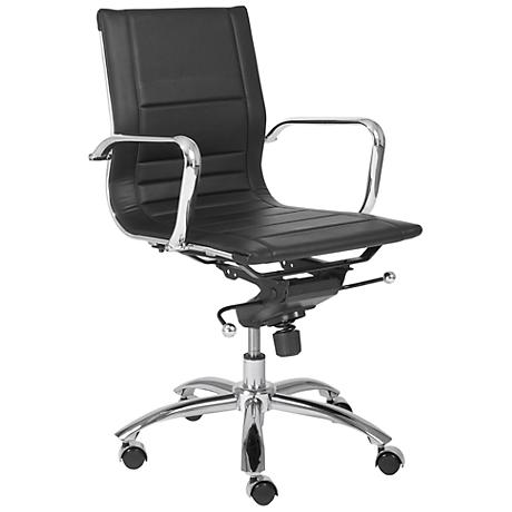 Brice Low-Back Chrome and Black Office Chair