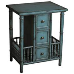 Distressed Teal Accent Table