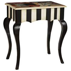 Black Striped Accent Table