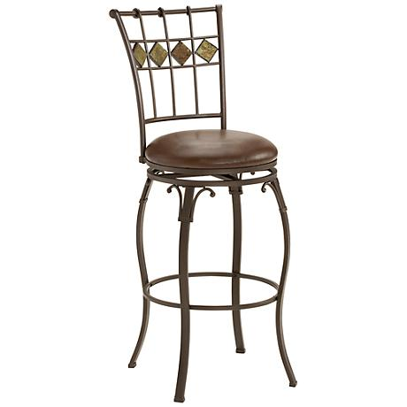 "Hillsdale Lakeview 30"" Slate Brown Faux Leather Barstool"