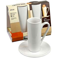 Set of 2 White Latte Macchiato Cups with Saucers