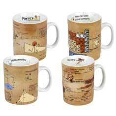 Set of 4 Assorted Physics Chemistry History and Math Mugs