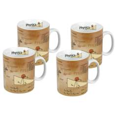 Set of 4 Porcelain Physics Mugs