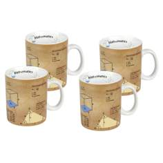 Set of 4 Porcelain Math Mugs
