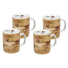 Set of 4 Porcelain History Mugs