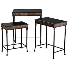 Set of 3 Empire Iron and Wood Nesting Tables