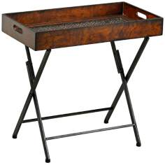 Heritage Mahogany and Rustic Iron Tray Stand