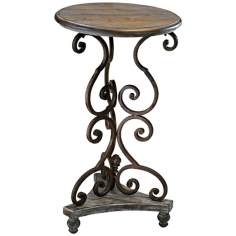 Thompson Scroll Gray and Golden Side Table