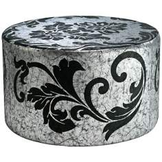York Floral Scroll Round Silver and Black Ottoman