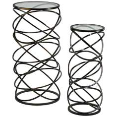 Set of 2 Iron and Glass Spiral Tables