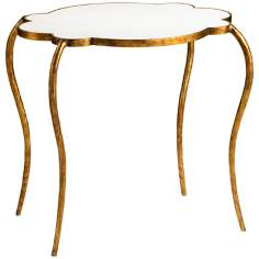 Gold and White Iron and Marble Side Table