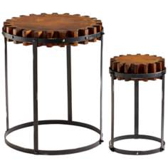 Set of 2 Gear Iron and Wood Drum Tables