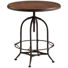 Lucca Vintage Style Round Wood and Iron Table