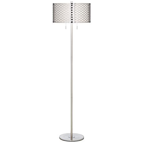 Brinda Cutout Brushed Steel Floor Lamp