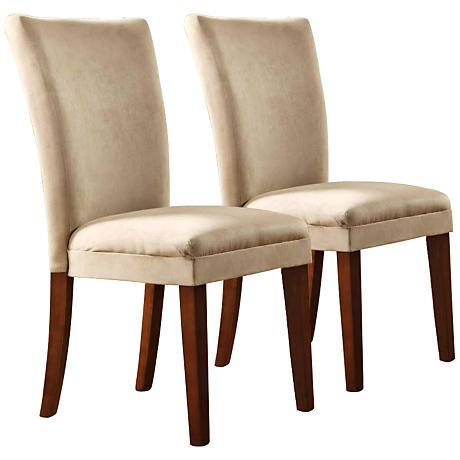 HomeBelle Set of 2 Peat Chenille Parsons Chairs