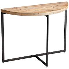 Taro Half-Circle Natural Wood Console Table