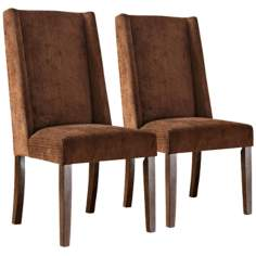 HomeBelle Set of 2 Chocolate Wingback Chairs