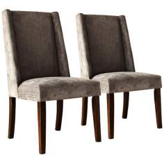 HomeBelle Set of 2 Grey Wingback Chairs