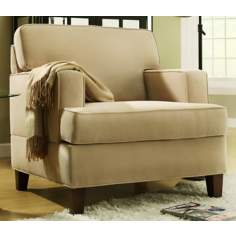 HomeBelle Cream Microfiber Armchair