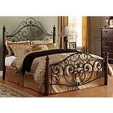 HomeBelle Scrolled Cherry and Bronze Full Bed