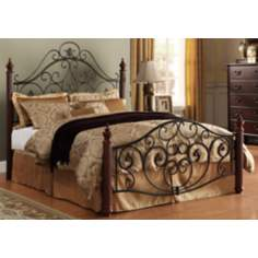 HomeBelle Cherry and Bronze Scrolled Queen Bed