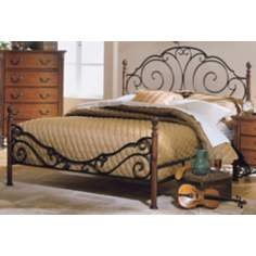 Bronze Scrollwork Queen Bed with Cherry Finishes