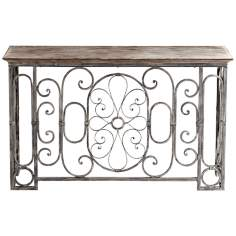 Nixie Iron and Wood Antique Gray Console Table