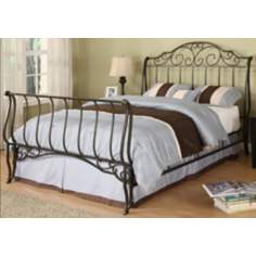 HomeBelle Bronze Full Sleigh Bed