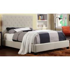 HomeBelle Beige Diamond Tufted Queen Platform Bed