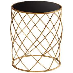Wimbley Round Gold Leaf and Black Side Table