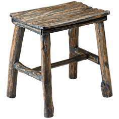 Vintage Natural Pecan Wooden Stool