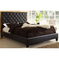 HomeBelle Brown Diamond Tufted Queen Platform Bed