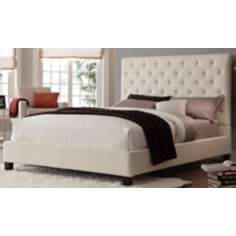 HomeBelle Beige Diamond Tufted Full Platform Bed