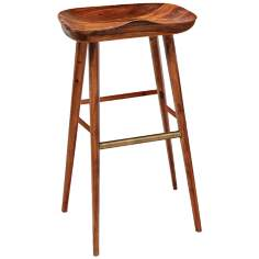 Balboa Teak and Brass Stool