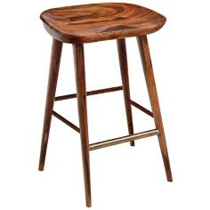 Balboa Teak and Brass Counter Height Stool