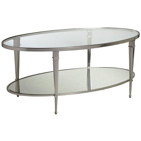 Hammary Mallory Oval Glass and Nickel Cocktail Table
