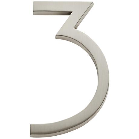 Modern Avalon Brushed Nickel House Number 3