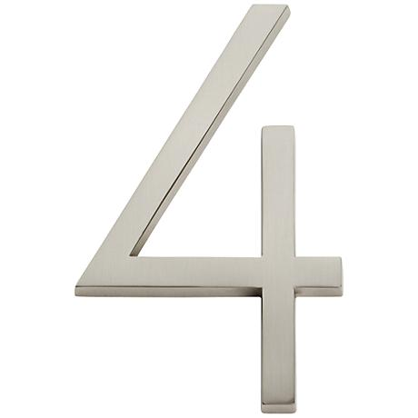 Modern Avalon Brushed Nickel House Number 4