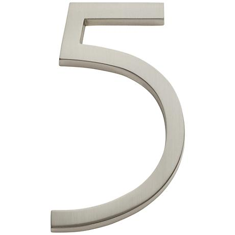 Modern Avalon Brushed Nickel House Number 5