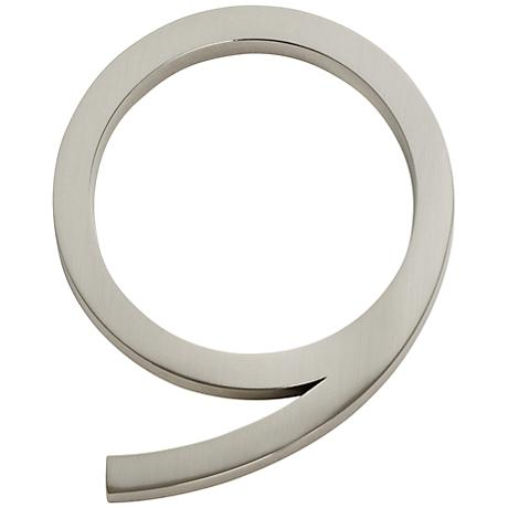 Modern Avalon Brushed Nickel House Number 9