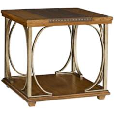 Esprit Square Leather and Oak End Table