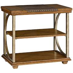 Esprit 2-Shelf Leather and Oak Chairside Table