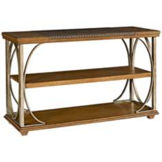 Esprit 2-Shelf Leather and Oak Sofa Table