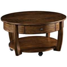 Concierge Round 1-Drawer Lift-Top Brown Cocktail Table